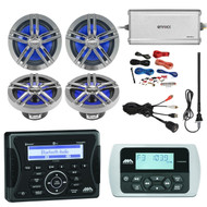 "Jensen Marine Audio Bluetooth AUX USB Receiver, Wired Remote, 4x Enrock Marine 2-Way 180-Watts 6.5"" Water-Resistant Speakers (Charcoal), Enrock Marine 4-Channel Marine/Powersports Amplifier, PYLE 8 Gauge Amp Install Kit, AM/FM Antenna, USB Mount"