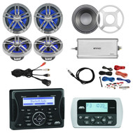 "Jensen Marine Audio Bluetooth AUX USB Receiver, Wired Remote, 4x Enrock 2-Way 180-Watts 6.5"" Water-Resistant Speakers (Charcoal), 10"" Subwoofer with LED Light Kit & 3 Colors grills, 4-Channel Amplifier, PYLE Amp Install Kit, Antenna, USB Mount"