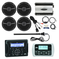 "Jensen Marine Audio Bluetooth AUX USB SiriusXM-Ready Receiver, Wired Remote, 4x Rockford Fosgate 6.5"" Inch Full Range Speakers, Black, 760-Watt 4-Channel Car Marine Amplifier, 8-Gauge Amp Install Kit, AM/FM Antenna, USB Mount"