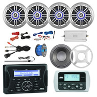"Jensen Marine Bluetooth USB Receiver, Wired Remote, 4x Millenia 6.5"" 150 Watt Coaxial Outdoor Speaker (Single), 10"" Subwoofer w/ LED Light Kit & Grilles, Enrock Marine 4-Channel Amplifier, Amp Install Kit, Antenna, 50 Ft 16-G Tinned Wire, USB Mount"