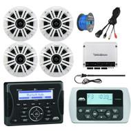 "Jensen Marine Audio Bluetooth AUX USB SiriusXM-Ready Receiver, Wired Remote, 4x Kicker 6.5"" 2-Way Coaxial 4-Ohm Marine/Boat Speakers, Rockford Fosgate Marine Class D 4-Channel Amplifier, AM/FM Antenna, 50 Ft 16-G Tinned Speaker Wire, USB Mount"