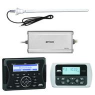 "Jensen Marine Audio Bluetooth AUX USB SiriusXM-Ready Receiver, Wired Remote, Enrock Marine 4-Channel Marine/Powersports Amplifier, Enrock 20W 22"" Rubber Mast Marine AM/FM Radio Antenna - White"