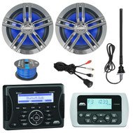 "Jensen Marine Audio Bluetooth AUX USB SiriusXM-Ready Receiver, Wired Remote, 2x Enrock Marine 2-Way 180-Watts High-Performance 6.5"" Water-Resistant Loudspeaker (Charcoal), AM/FM Antenna, 50 Ft 16-G Tinned Speaker Wire, USB Mount"