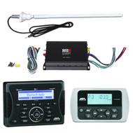 "Jensen Marine Audio Bluetooth AUX USB SiriusXM-Ready Receiver, Wired Remote, MB Quart NA1-3204 320W 4-Channel Class D Amplifier, Enrock 20W 22"" Rubber Mast Marine AM/FM Radio Antenna - White"