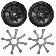 "2 x Kicker 4 Ohm Round 10-Inch Subwoofer, and 2 x Grill for Kicker 10"" Subs (R-10CVX104-2-GR100)"