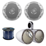 "2X Kicker 6.5"" Dual Marine Speaker Enclosures, 4x Jbl 6.5""  Speakers, 50Ft Wire (R-12KMTEDW-1-MS6510)"
