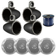 "4X Kicker Tower Enclosure for 6.5"" Marine Speakers, 4x JBL 6.5"" Speakers, Wire (R-12KMTES-2-MS6510)"
