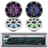 "Kenwood Marine CD Receiver w/ Bluetooth, and 4x Kicker 6.5"" LED Boat Speakers (R-1KMRD768BT-2-43KM654LCW)"