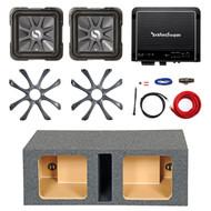 """2 Kicker 10"""" 600W Subwoofers, Sub Grills and Enclosure, 500W Amplifier and Kit (R-211S10L74-208GL710-10DVSQ-09DPK8-R500X1D)"""