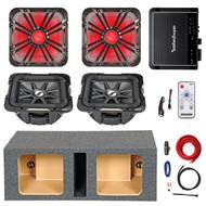 """2 Kicker 10"""" 600W Subwoofers, LED Grill Set, Enclosure, 500W Amplifier and Kit (R-211S10L74-211L710GLC-10DVSQ-09DPK8-41KML)"""