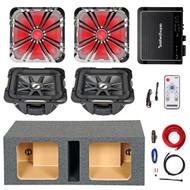 """10"""" Square Kicker Subwoofer, LED Grill, LED Remote,Enclosure, 500W Amp and Kit,  (R-211S10L74-211L710GLCR-10DVSQ-09DPK8-41KM)"""