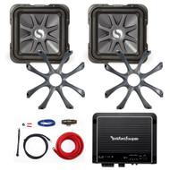 """2 Kicker 8"""" 900W 4-Ohm Car Subwoofers, Sub Grills, Mono 500W Amplifier and Kit (R-211S8L74-208GL78-09DPK8-R500X1D)"""