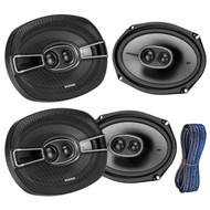 "4x Kicker 6x9"" 3-Way Speakers 1200W w/ Poly-Switch, 50-Feet 16-AWG K-Series Wire (R-2-41KSC6934-KW1650)"
