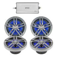 """4 x Enrock Marine 6.5"""" Speakers, Enrock Marine Marine Amplifier (R-2PAIR-EM265C-EEA720.4)"""