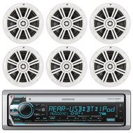 "6x Kicker  6.5"" Marine Boat Speaker Set, Kenwood Bluetooth AUX AUX Stereo Radio (R-3-EKICMP16632)"