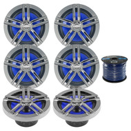 "6 x Enrock Marine 6.5"" Speakers, Enrock Marine Grade Spool of Speaker Wire (R-3-EM265C-EM16G50FT-OFC)"