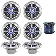 """6 x Milennia 6.5"""" Marine Speaker, Enrock Marine Grade Speaker Wire (R-3PAIR-652BSL-EM16G50FT-OFC)"""