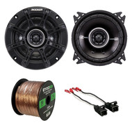 "2x Kicker 4"" 2-Way Speakers, 2x Metra Speaker Wire Harness, Enrock 14G 50FT Wire (R-41DSC44-1-72-4568)"
