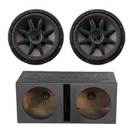 "2x Kicker 12"" 4 Ohm Car Subwoofer, and QPOWER 12"" Dual Vented Sub Enclosure (R-43CVR124-1-QBOMB12V)"