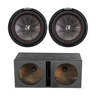 "2X Kicker 10"" 4-Ohm Car Subwoofer, QPOWER 12""  Dual Vented Sub Box Enclosure (R-43CWR104-1-QBOMB12V)"