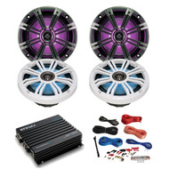 "4x Kicker 6.5"" LED Speakers w/ 4-Channel Bluetooth Amp + 8 Gauge Amp Install Kit (R-43KM654LCW-2-EKMB500ABT)"