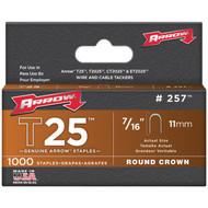 """ARROW FASTENER 257 T25 Round Crown Staples, 7/16""""; 1,000 pk (R-AFC257)"""