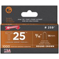 """ARROW FASTENER 259 T25 Round Crown Staples, 9/16""""; 1,000 pk (R-AFC259)"""