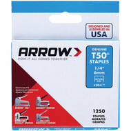 "Arrow 50424 T50(R) Staples, 1,250 pk (1/4"") (R-AFC50424)"