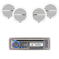 "Dual AM400W Marine CD USB Weatherband Radio, 6.5"" Dual 60W Marine Boat Speakers (R-AM400W-2XRBDMP66)"