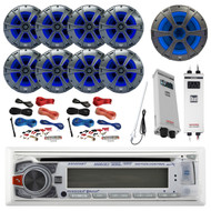 "Bluetooth CD MP3 USB Receiver, 8x 8"" Speaker, Sub, 2X Amp, 2x 8G Amp Kit,Antenna (R-AM425BT-BOAT)"