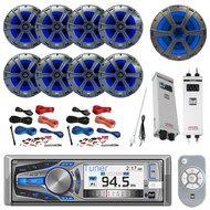 "Bluetooth Receiver, 8x 8"" Speaker, 10"" Sub, 2x Amp, 2x Amp Install Kit, Antenna (R-AM615BT-BOAT)"