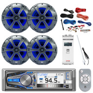"Dual Bluetooth CD MP3 Receiver, 4X 6.5"" Speakers, Amp, Amp Install Kit, Antenna (R-AM615BT-PONTOON)"