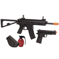 Crosman Commando Kit (Black)Spring Powered Single Shot Riflle & Pistol Kit (R-AREKT)