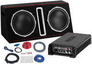 "Boss Dual 12"" Active Loaded Enclosure With Build In Amplifier And Amplifier Wiring Kit 1600W Max (R-BASS12DAPK)"