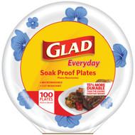 "Glad BBP0099 10.25"" Paper Plates, 100-ct (Round, Blue Flower) (R-BUZZBBP0099)"