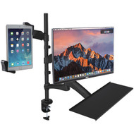 CTA Digital PAD-2AMTK 2-in-1 Adjustable Monitor & Tablet Mount Stand with Keyboard Tray (R-CTAPAD2AMTK)