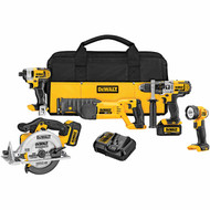 Dewalt 20V 5-Tool Combo Impact Driver Cirular Saw Led Worklight Hammerdrill Reciprocating Saw (R-DCK592L2)