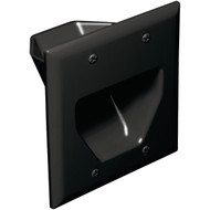 DATACOMM ELECTRONICS 45-0002-BK 2-Gang Recessed Cable Plate (Black) (R-DCM450002BK)