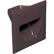 DATACOMM ELECTRONICS 45-0002-BR 2-Gang Recessed Cable Plate (Brown) (R-DCM450002BR)
