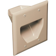 DATACOMM ELECTRONICS 45-0002-IV 2-Gang Recessed Cable Plate (Ivory) (R-DCM450002IV)