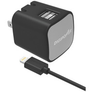DIGIPOWER IS-AC3DL InstaSense(TM) 3.4-Amp Dual-USB Wall Charger with 5ft Lightning(R) Cable (R-DGPISAC3DL)