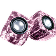 DREAMGEAR DGUN-6828 Ice Crystal Clear Compact Speakers (Pink) (R-DRM6828)