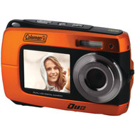 COLEMAN 2V8WP-O 18.0-Megapixel Duo 2V8WP Dual-Screen Waterproof HD Digital Camera (Orange) (R-ELB2V8WPO)