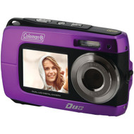 COLEMAN 2V8WP-P 18.0-Megapixel Duo 2V8WP Dual-Screen Waterproof HD Digital Camera (Purple) (R-ELB2V8WPP)