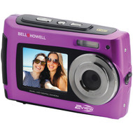 BELL+HOWELL 2VIEW18-P 2VIEW18 Dual-Screen Waterproof HD Camera (Purple) (R-ELB2VIEW18P)