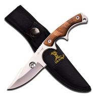 "Elk Ridge Fixed Blade Knife 7"" Overall Mirror Blade Wood Overlay Handle (R-ER534)"