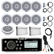 "CD Bluetooth Marine Receiver,8x 7"" Speakers, 2x Amps + Kit, Sub, Antenna, Mount (R-FUSMSAV650-BOAT)"