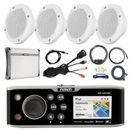 "Fusion DVD/CD Marine Stereo, 4x 6.5"" Speakers, Amp & Kit, Antenna, Aux Mount (R-FUSMSAV750-PONTOON)"