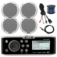 "Fusion Bluetooth Marine Receiver, 4x 6"" Speakers,  Wire, Antenna, USB Aux Mount (R-FUSMSUD650-BAYBOAT)"