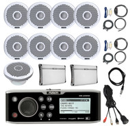 "Bluetooth Marine Receiver,8x 7"" Speakers, 2x Amps, Sub,Antenna,Remote, Aux Mount (R-FUSMSUD650-BOAT)"